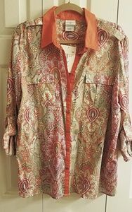 Button Down XXL Shirt Jaclyn Smith Bright Paisley